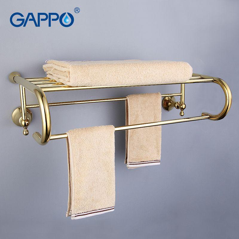 GAPPO Top Qualität Gold Wand Badezimmer Regale Bad Regale toilette regal Hardware-zubehör in zwei haken G1424