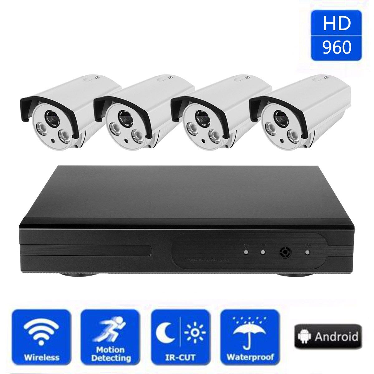 Safurance 4CH Wireless 960P HD Wifi CCTV Kit Security Camera Video Recorder System Home Security Safety