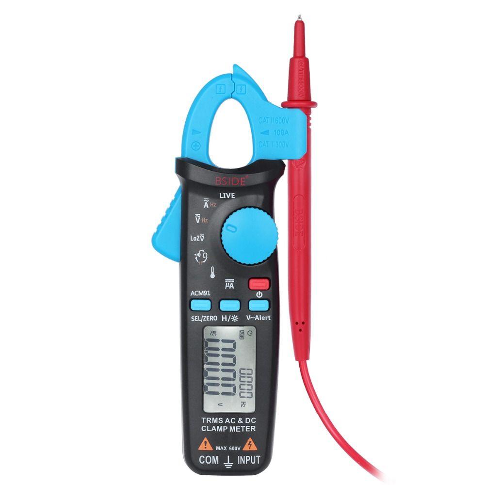 Bside 1mA TRMS Digital Clamp Multimeter AC/DC Current Capacitance Temperature Live Check V-alert Backlight with Pocket Clip
