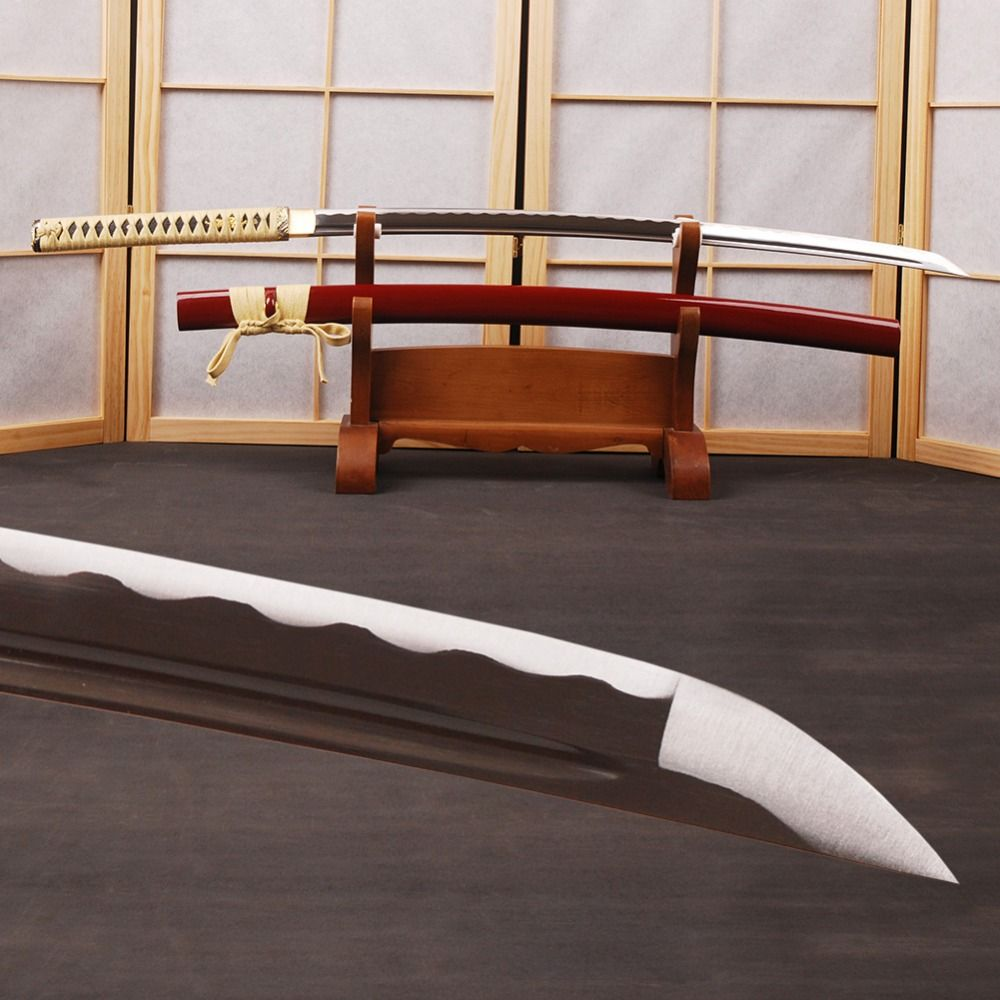 Hand Forged Samurai Sword Japanese Katana 1060 Carbon Steel Full Tang Sharp Espada Can Cut Bamboo Knfie Samurai Cosplay Sword