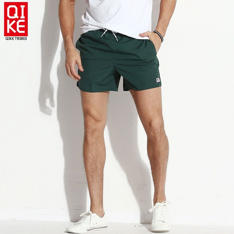 Board shorts men swimwear solid beach surf bermudas swimming trunks male liner bathing suits drawstring quick dry swimsuits man