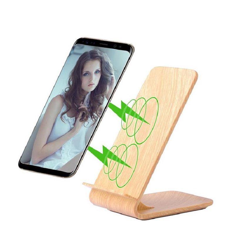 Chargeur sans fil rapide à Grain de bois, support de charge rapide sans fil Itian pour iPhone 8/X Samsung Galaxy Note8/S8/S8 +/S7/S7 edge/Note5