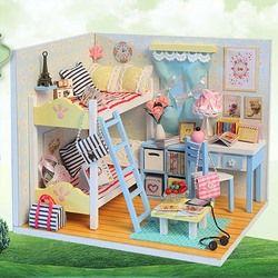 DIY Furnitur Rumah Boneka 3D Kayu Miniatur Rumah Boneka Manusia Hidup Buatan Tangan Miniaturas Rumah Boneka Mainan untuk Anak Perempuan Hadiah Natal