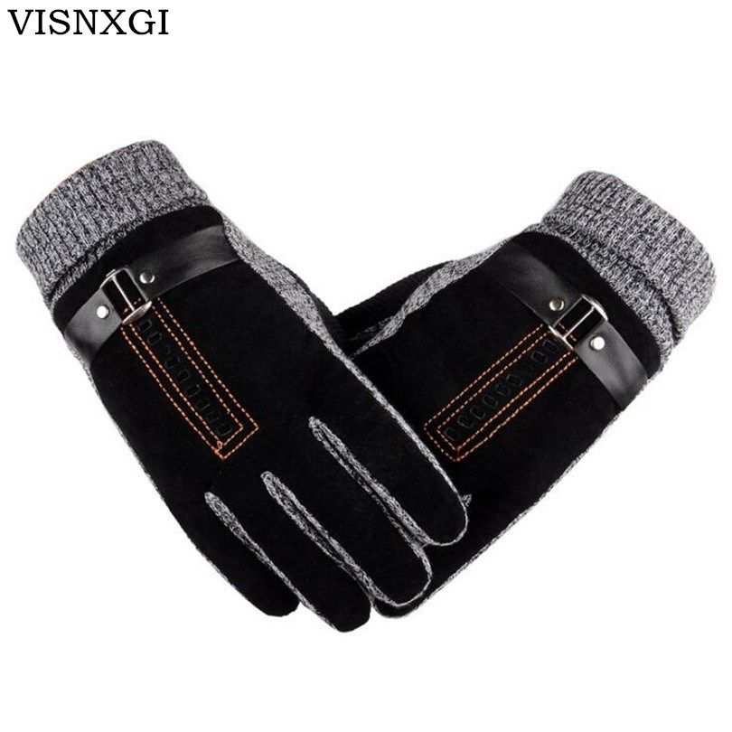 2017 New Design Men Winter Gloves Luxury Leather Moto Guantes PU Patchwork Thick Gloves Male Motocicleta Thermal Warm Gloves