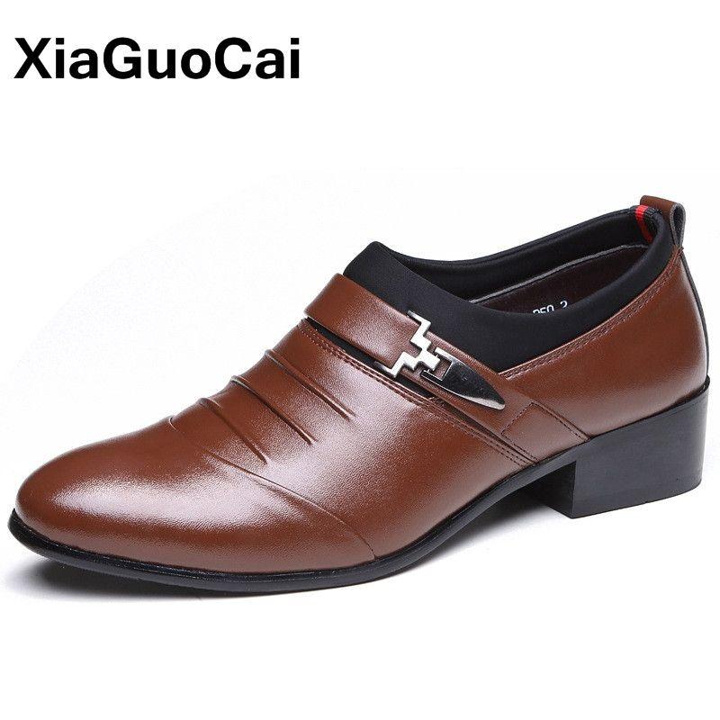Spring Autumn Men Dress Shoes Pointed Toe Slip-On Mans Footwear Luxury British Leather Wedding Male Social Shoe Big Size