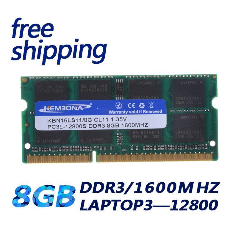 KEMBONA Laptop Computer RAM MEMORY DDR3 1600Mzh 8GB DDR3L 1.35 V PC3-12800L 1.35V Memory Ram Memoria 204pin