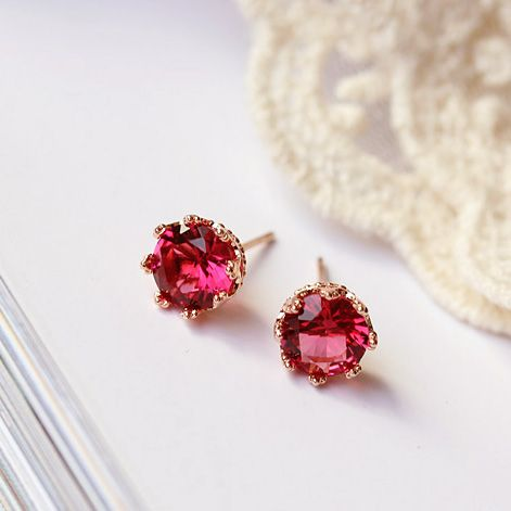 Top Quality Sweet Cute 8mm 2ct Crown shaped Red Green Round CZ Stone Earrings Rose Gold Color Girl Kids Children Jewelry