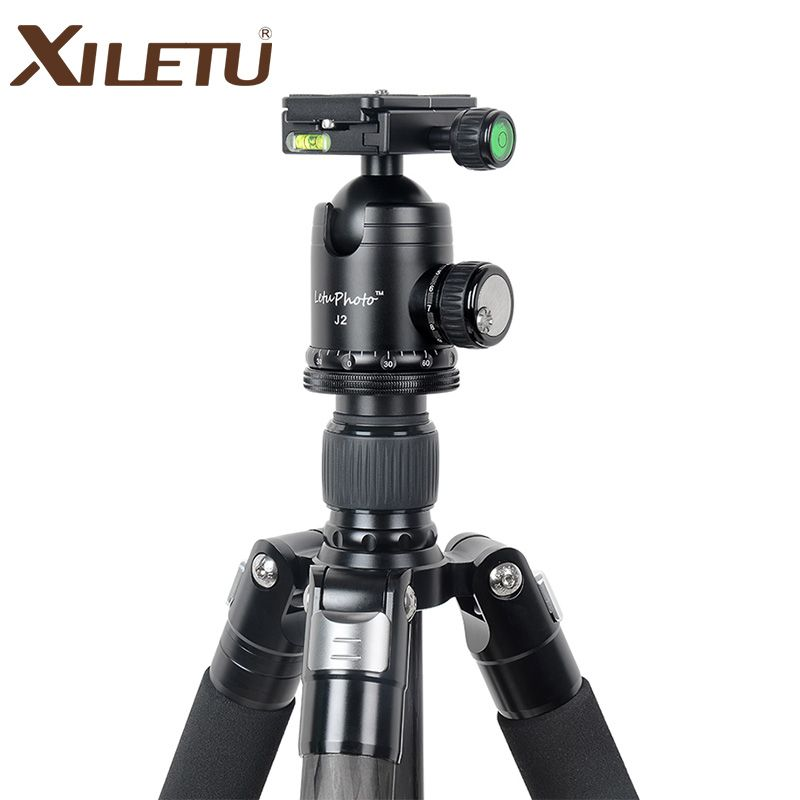 XILETU L334C+J2 Professional Luxury Carbon Fiber Tripod Kit with 33mm Max Diameter Tube/ 20kg Load Capacity/Height up to 185CM