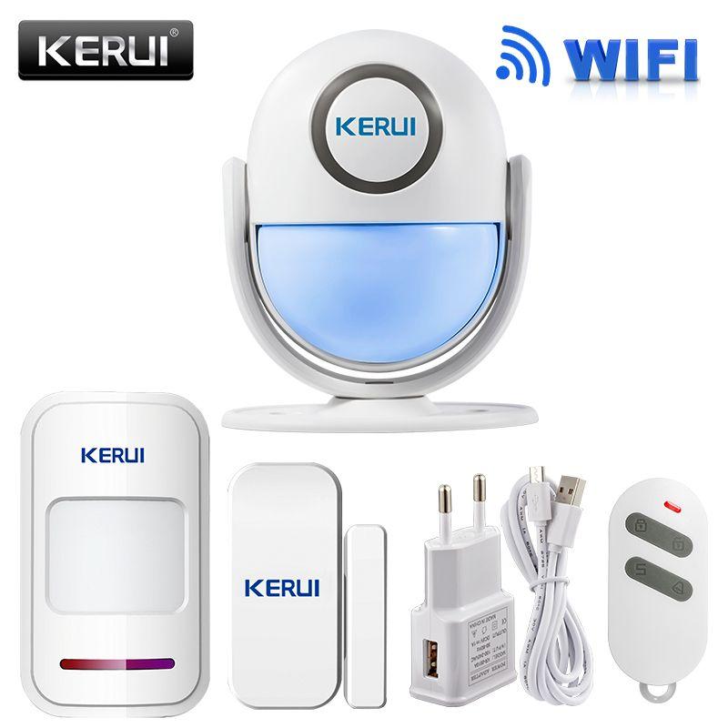 KERUI WIFI Système D'alarme de Sécurité À Domicile BRICOLAGE KIT IOS/Android Smartphone App 120dB PIR Panneau Principal Porte/fenêtre capteur D'alarme Antivol