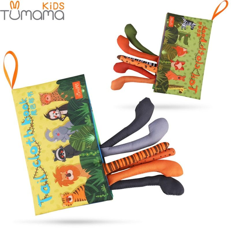 Tumama Baby Rattles Mobiles Toy Soft Animal Tails Cloth Book Newborn Stroller Hanging Toy Baby Early Learning Educational Toys