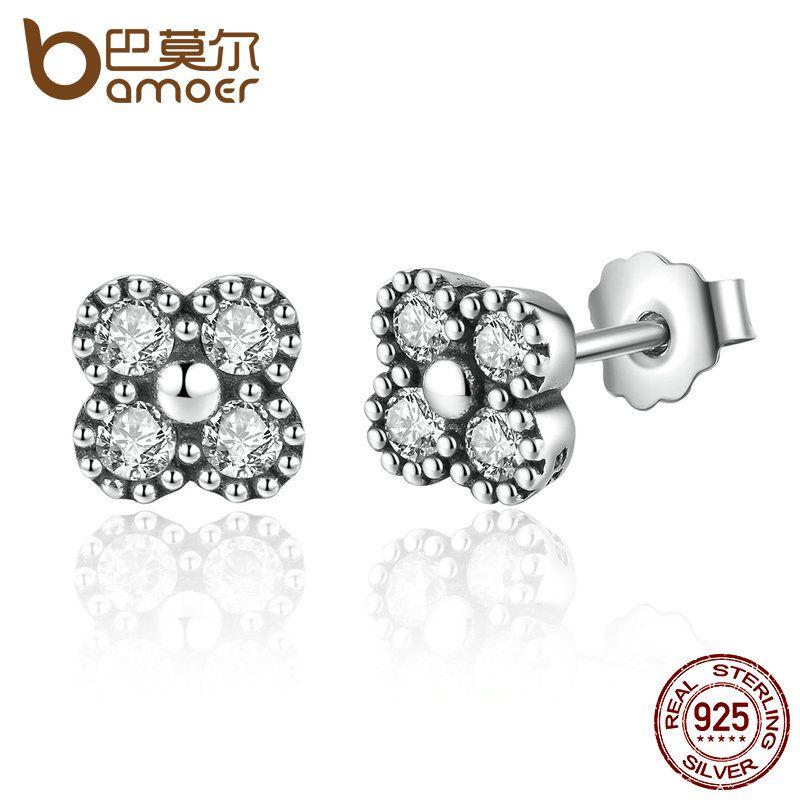 BAMOER 925 Plata de Ley Pendientes de Plata Rosa Claro CZ Retroceder Stud Pendientes Para Las Mujeres Pendientes Fashion Jewelry PAS481