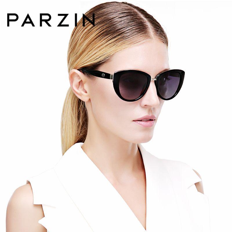 PARZIN Marque Élégant Cat Eye lunettes de Soleil Pour Femmes Grand Cadre Réel Polarisées Anti-UV400 Lunettes de Soleil de Haute Qualité Lunettes 9507