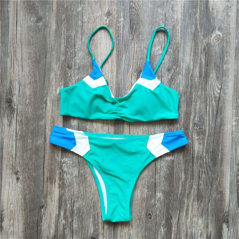 2018 Nouveau Patchwork Bikini Ensemble Maillot de Bain Maillot de bain Maillots De Bain Beachwear Pour Les Femmes