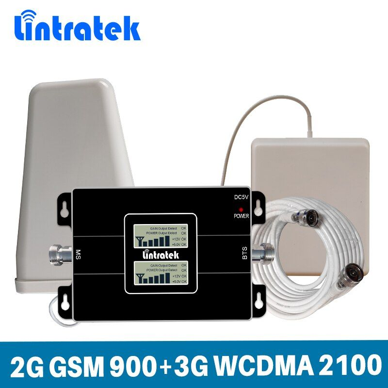 Lintratek 65dB Gain Dual Band Signal Booster 2G GSM 900MHz 3G UMTS WCDMA 2100 Mhz Mobile Cellphone Signal Repeater Full Set