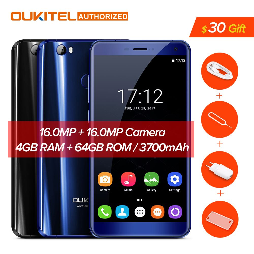 Oukitel U11 Plus 3700 mAh Batterie Smartphone Android 7.0 MTK6750T Octa Noyau Mobile Téléphone D'empreintes Digitales 4 GB RAM 64 GB ROM Téléphone portable
