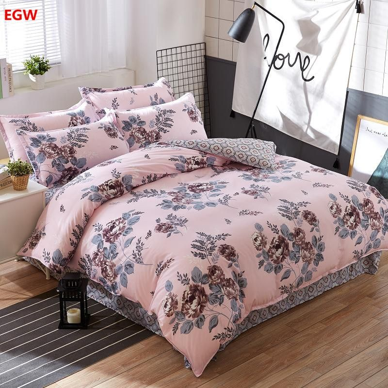 2018 home textile Summer bedding set duvet cover bed sheet coffee fllower beding bedspread Autumn housse de couette five size