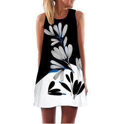 2018 Summer Dress Women Floral Print Chiffon Dress Sleeveless Boho Style Short Beach Dress Sundress Casual Shift Dresses Vestido