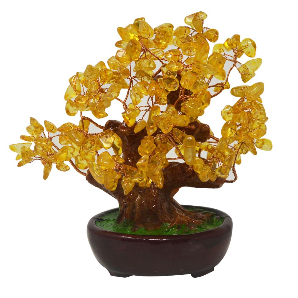 Feng Shui Natural Yellow Quartz Crystal Money Tree Bonsai Style Decoration for Wealth and Luck HN131