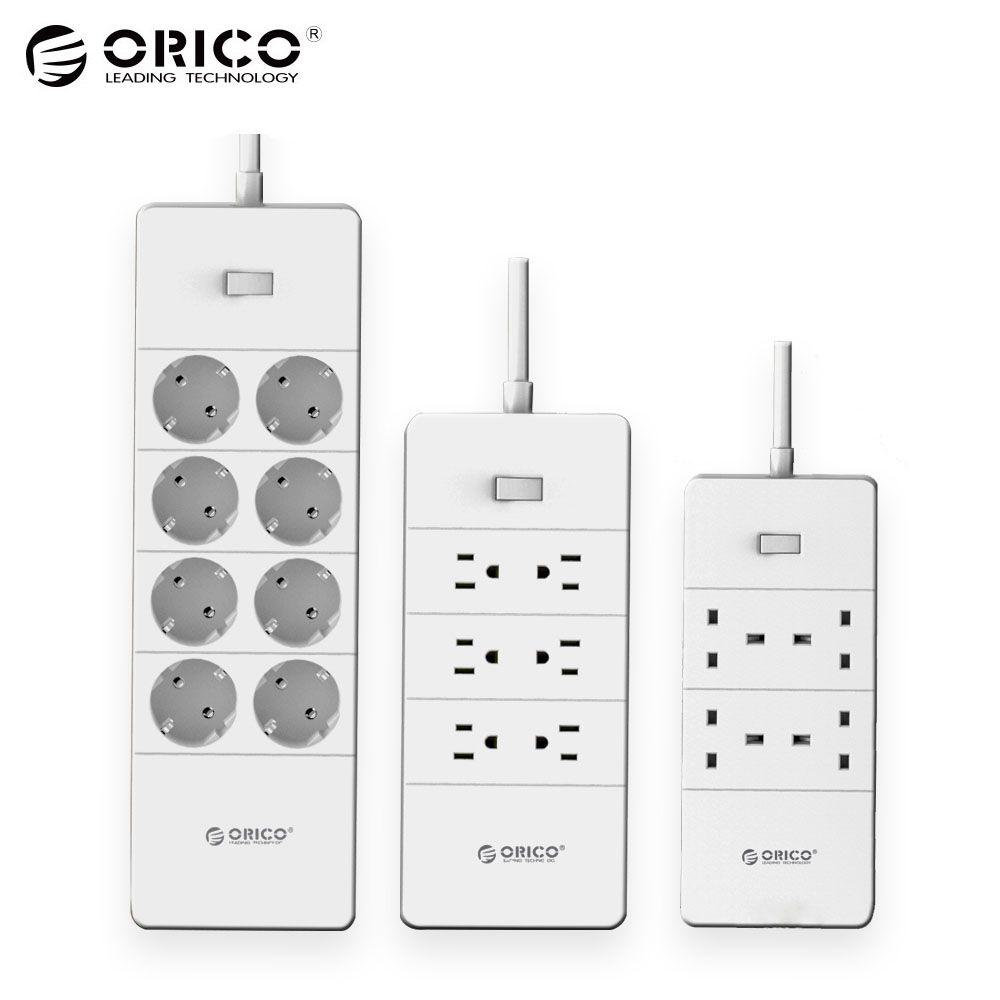 ORICO HPC-V1 USB EU UK US Electrical Socket Overload Switch Surge Protection 4 6 8 AC Outlets 5 USB Ports 2.4A Smart Power Strip
