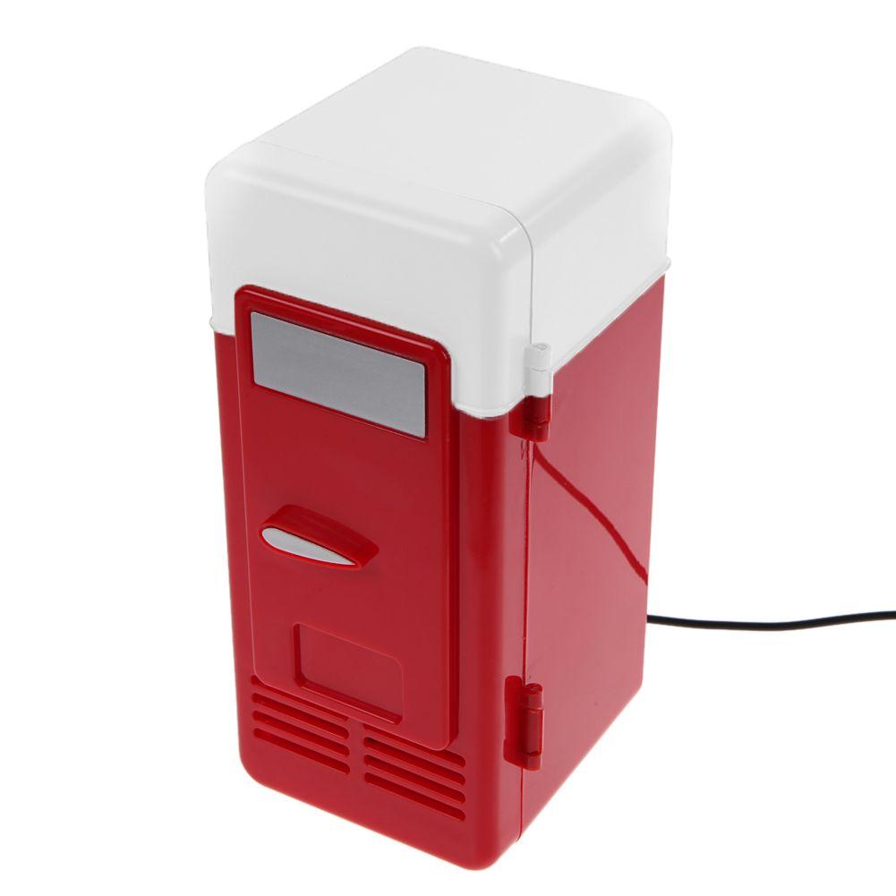 VAKIND Desktop Mini Kühlschrank USB Gadget Getränkedosen Kühler/Wärmer Kühlschrank mit Internen LED-Licht Auto verwenden Mini kühlschrank