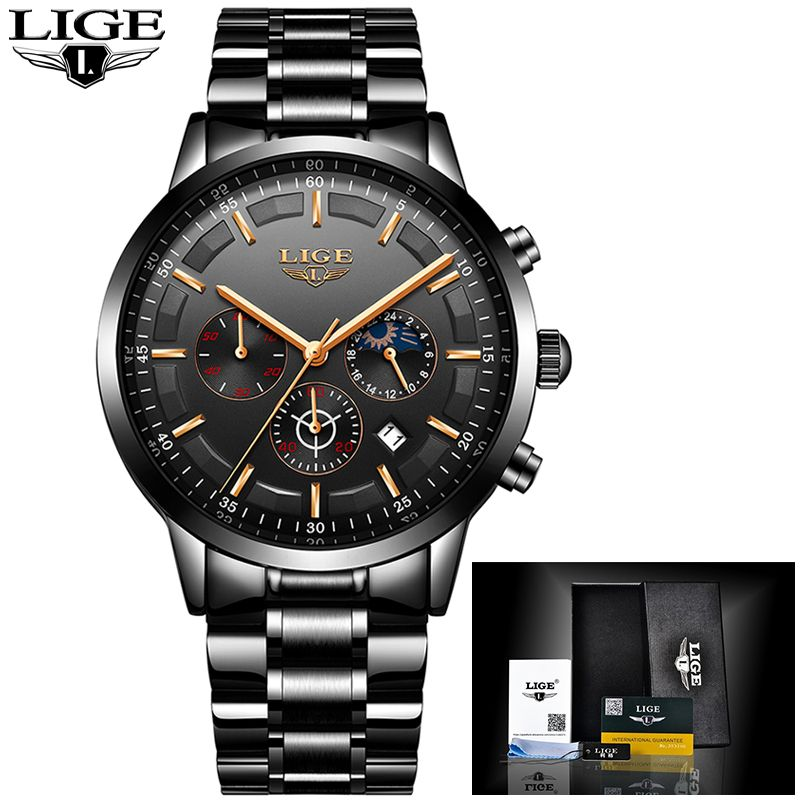LIGE New Top Luxury Brand Watches mens Sport waterproof watch men stainless steel strap all steel quartz Clock Relogio Masculino