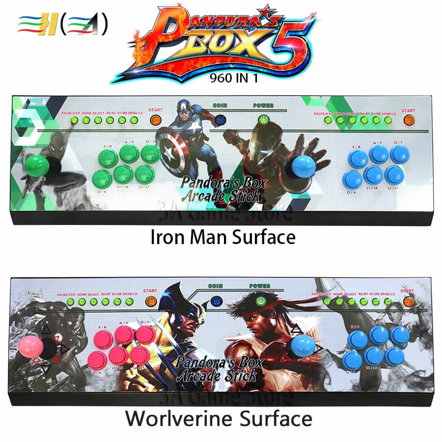 Pandora's box 5 960 in 1 Iron Man Stickers arcade console 2 players pandora box 5 960 games children game machine controller kit
