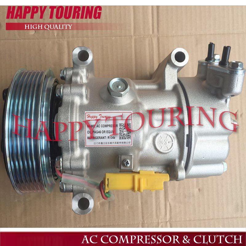 SD6V12 A/C-kompressor Für PEUGEOT 206 307 für CITROEN C2 C3 BERLINGO 9655191680 9671456680 6453XJ 6453QG 6453QE 6453QH