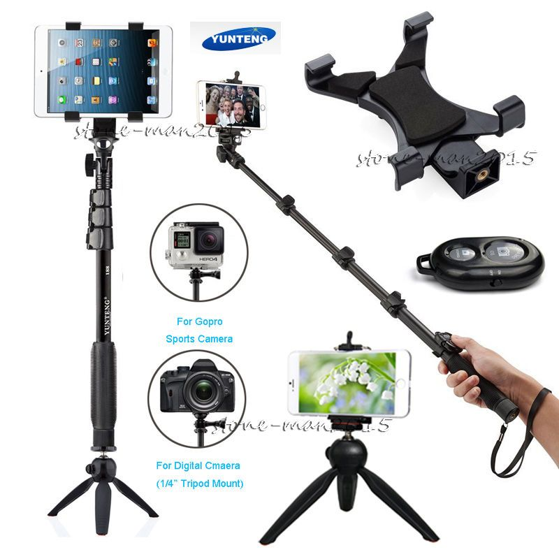For iPhone X 6S 7 PLUS J5 J7 A5 Edge Note 8 7 Plus Z3 Gopro Camera Bluetooth Remote+Monopod Tablet Stick Holder+Selfie Tripod