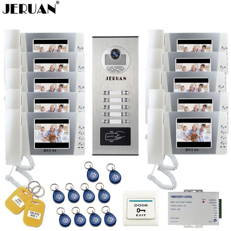 JERUAN 4,3 zoll LCD Video Intercom Türklingel Sprechanlage kit RFID Access Kamera für 10 Haushalts Wohnung