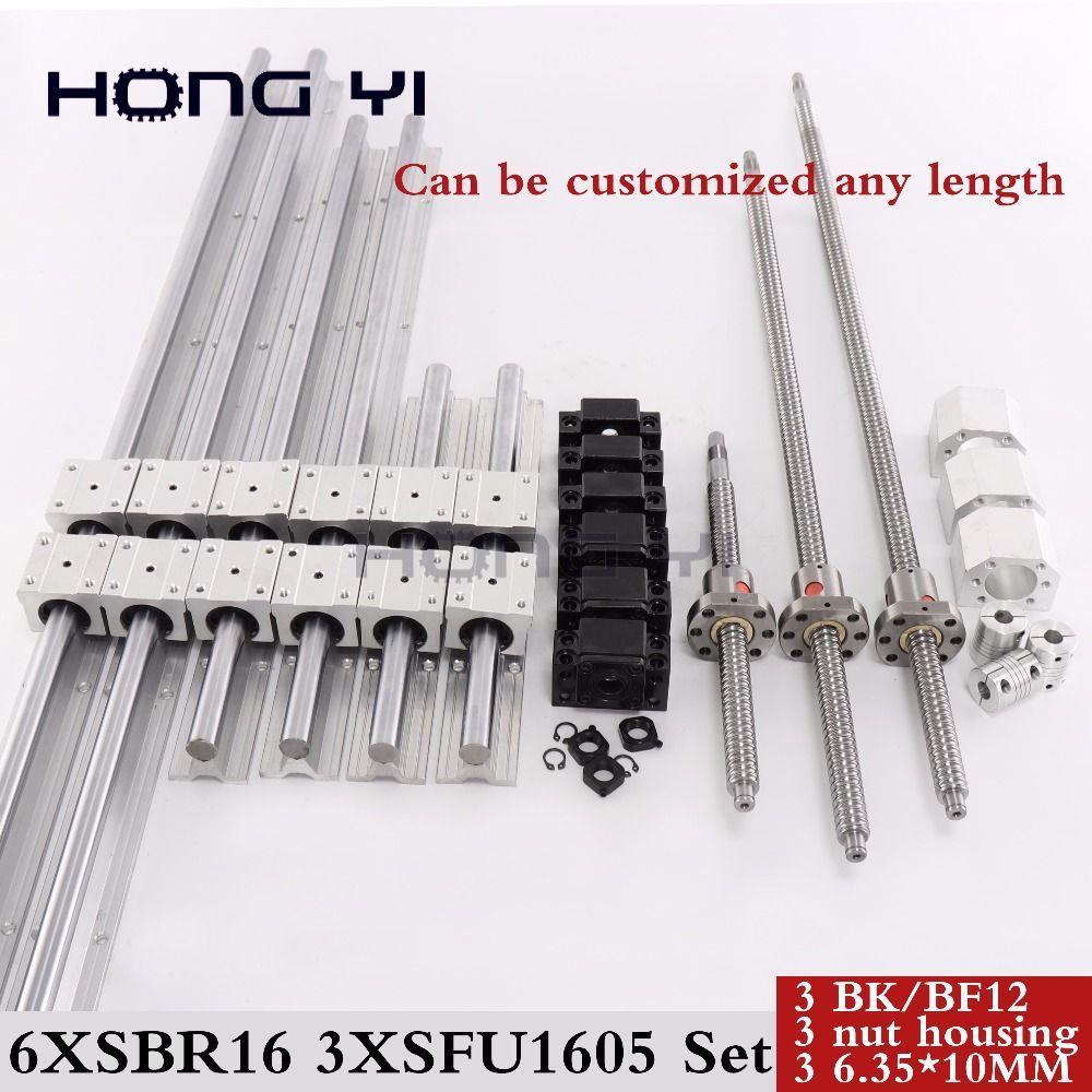 6 sätze linearschiene SBR16 linearführung jede länge + linearlager blöcke + SFU1605 kugelgewinde + 3 BK12/BF12 + 3 DSG16H mutter + 3 Koppler