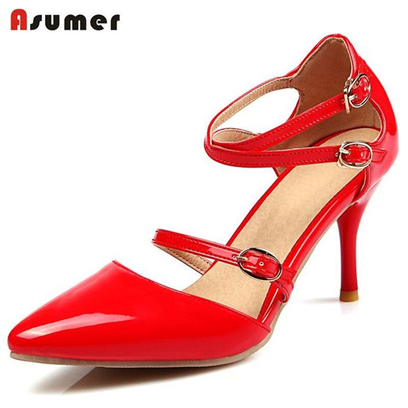 Asumer Summer 2018 hot sale women shoes buckle solid high thin heels shoes pointed toe restoring pumps women shoes