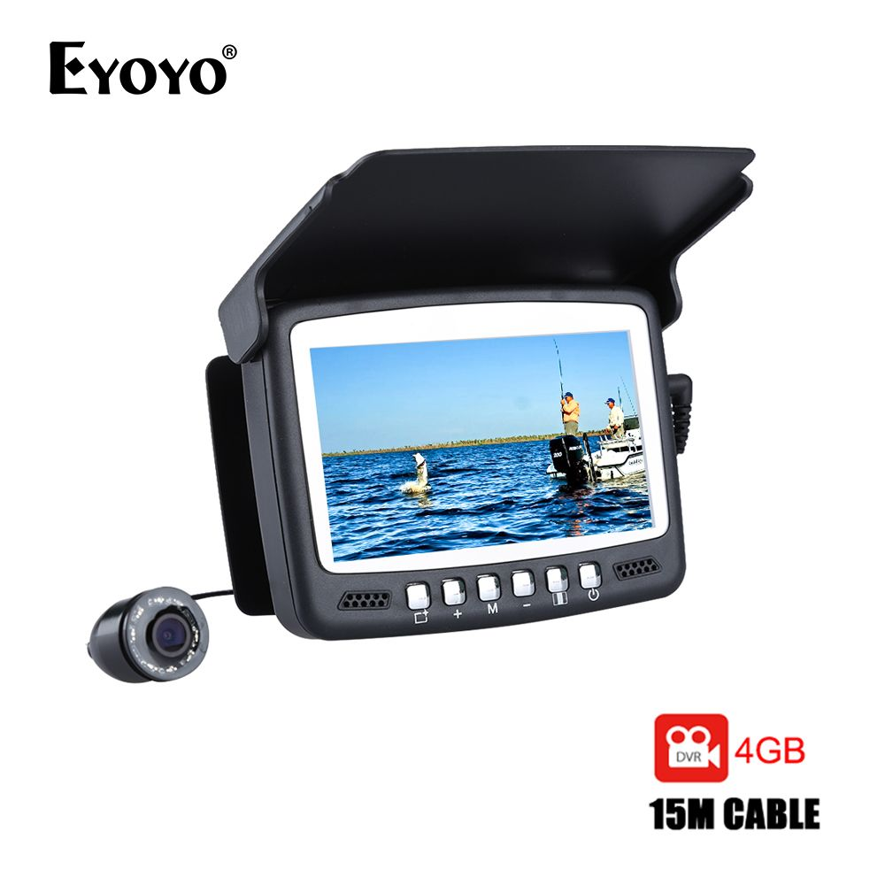 Eyoyo 15M 30M détecteur de poisson sous-marin 1000TVL pêche sur glace caméra d'enregistrement vidéo DVR 8 infrarouge LED