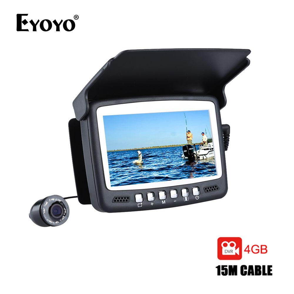 Eyoyo Original 15M Fish Finder Underwater 1000TVL Ice Fishing VIdeo Recording Camera DVR 8 infrared LED Sunvisor+4G TF Card