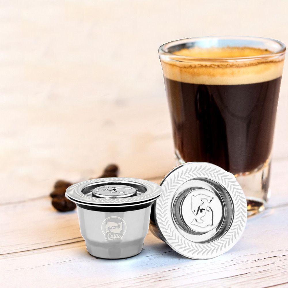 Nouveau acier inoxydable métal 2 en 1 Usage café filtre Nespresso réutilisable Capsule rechargeable Refilable 1 cuillère + 1 brosse