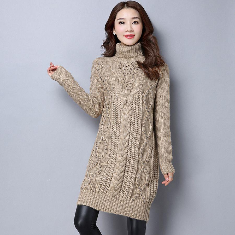 Pullover Women Turtleneck Sweater Dress Winter Robe Pull Long Femme Korean Christmas Jumper Oversized Sweater Women Tops P4C0965