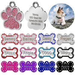 Personalizado grabado etiquetas para perros cachorros de gato personalizado nombre collar tag hueso Paw collar Accesorios anti-perdida inoxidable acero