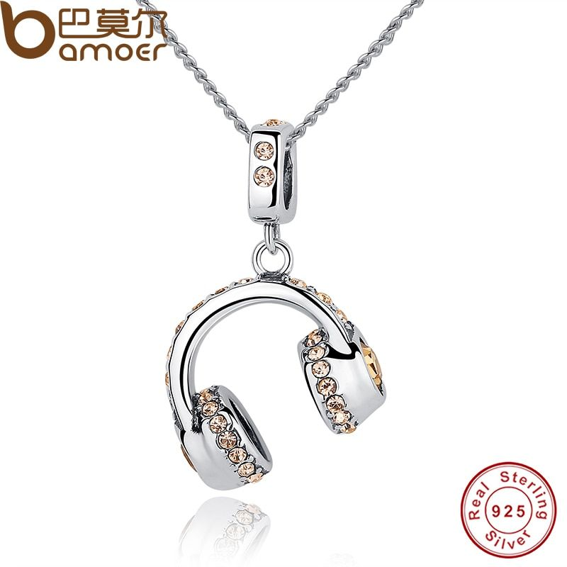 BAMOER New 925 Sterling Silver Lovely Musical Headset Pendants Necklace Women Statement Jewelry CC036
