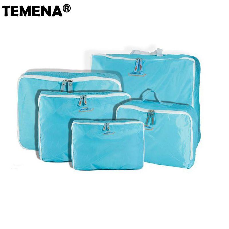 5 tailles/ensemble maison voyage Totes vêtements sous-vêtements chaussettes sacs de voyage emballage Cube bagage sac organisateur pour vous 5 pièces