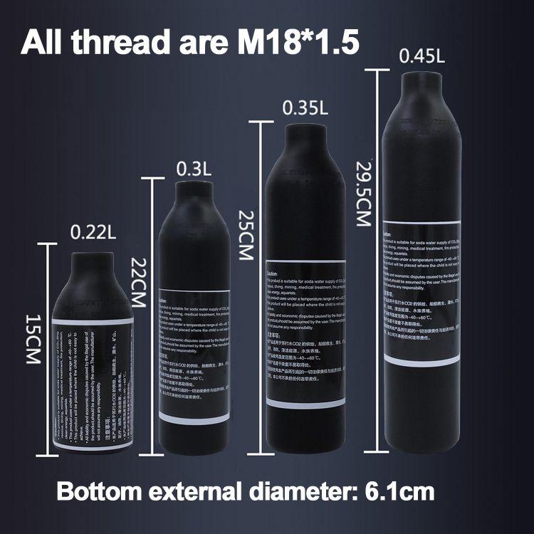 Пейнтбол Airsoft PCP Air Tank Альпинизм баллона 4500psi30MPA 0.2 0.35 0.45L гПа высокого сжатого воздуха бутылки M18 * 1.5