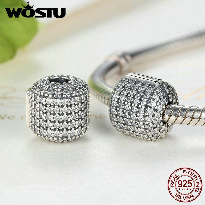 WOSTU Hot <font><b>Sale</b></font> Real 925 Sterling Silver Glamorous Pave Barrel Clip Charm Beads Fit Original Bracelet Authentic Jewelry FLC012