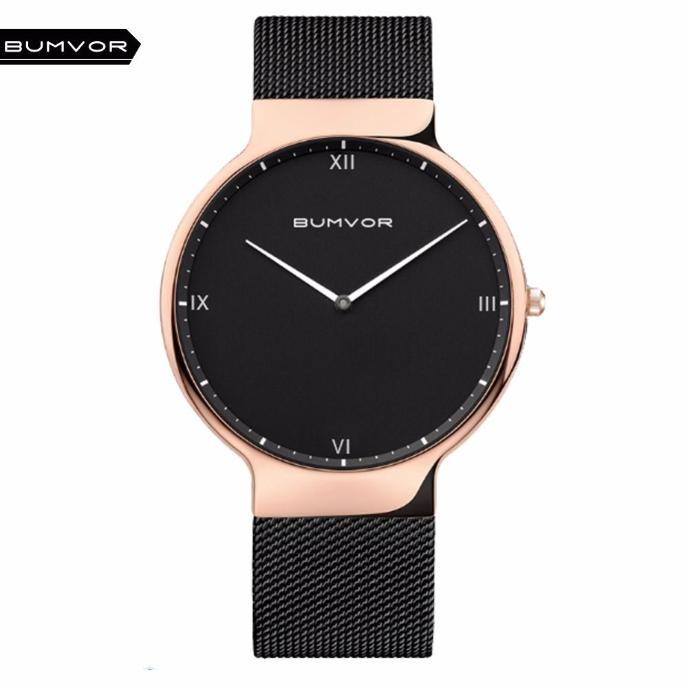 BUMVOR Ultra Thin Uhren Männer Quarz Edelstahl Herrenuhren Marke Uhr Mann Mode Lässig Armbanduhren Bering Stil