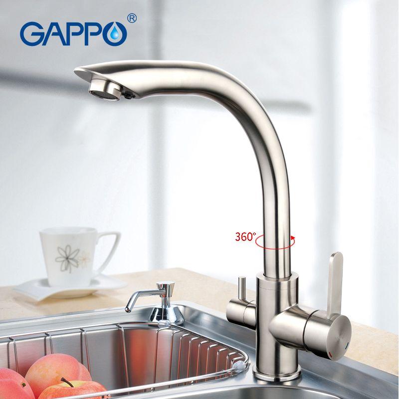 Gappo серебро Кухня раковина кран очистки Функция холодной и горячей воды смесителя Нержавеющаясталь кран двойные ручки g4399