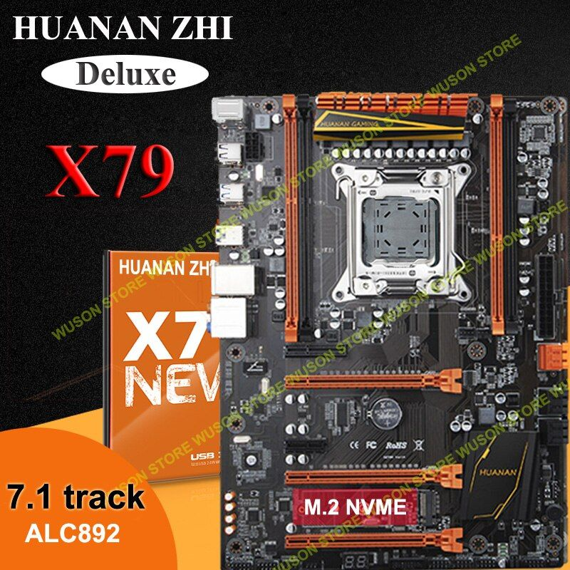 Discount HUANAN ZHI Deluxe X79 motherboard with M.2 slot 4 DIMMs 3*PCI-E x16 slots 2 SATA3.0 ports support 4*16G 1866MHz memory