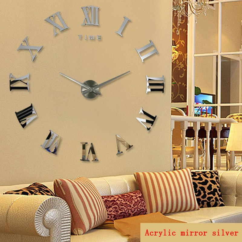 Promotion new home decor grand roman miroir mode moderne Quartz horloges salon diy horloge murale autocollant montre livraison gratuite