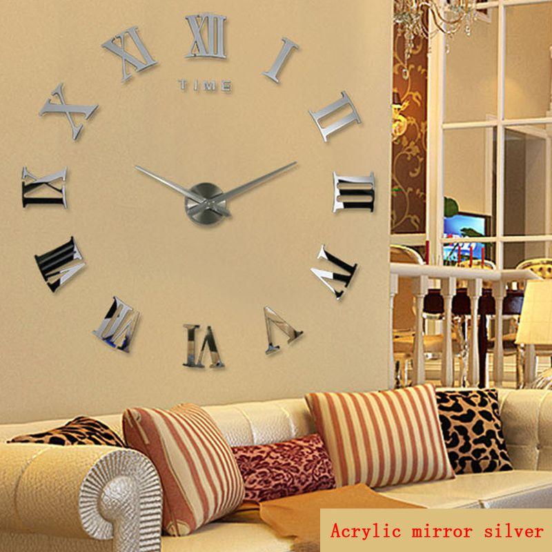 Promotion nouveau décor à la maison grand miroir romain mode moderne Quartz horloges salon bricolage horloge murale autocollant montre livraison gratuite