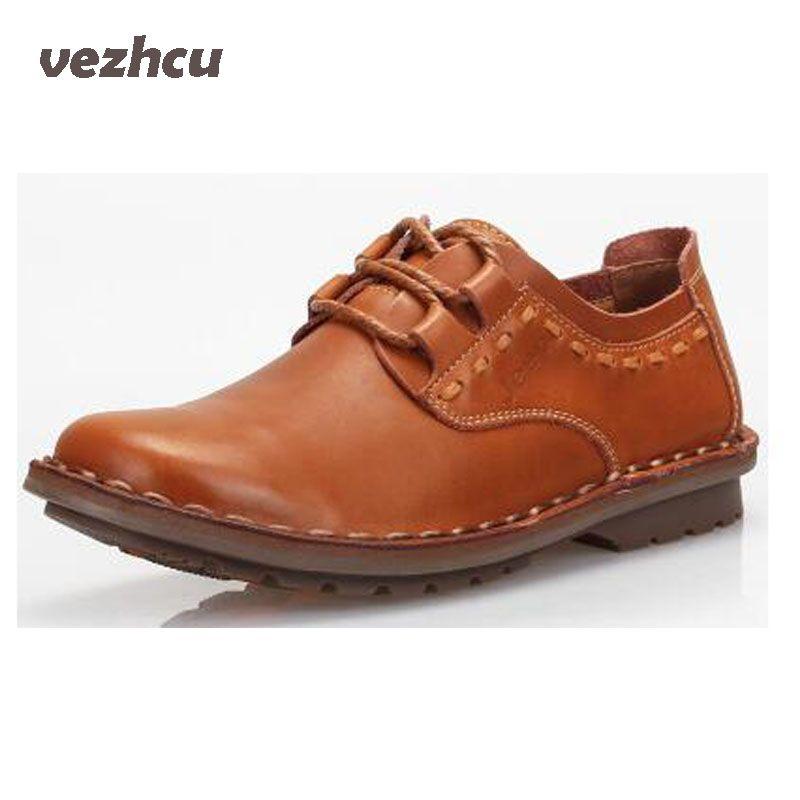 VZEHCU men Casual Shoes 100% Genuine Leather flats driving shoes men's shoes casual 3 colors