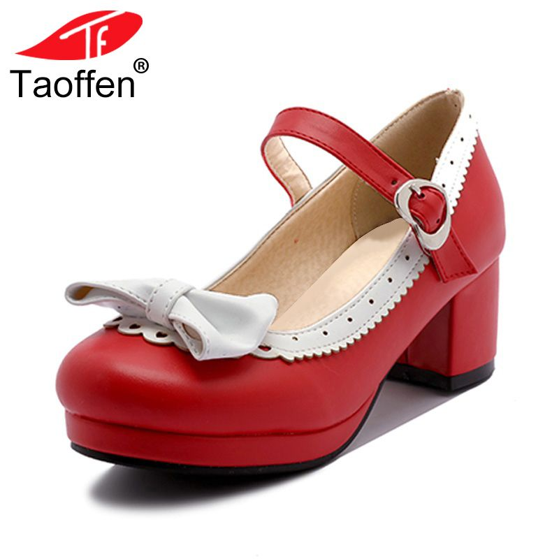 TAOFFEN Women Thick High Heel Shoes Women Patchwork Bowknot Heart Buckle Heels Pumps Ladies Office Daily Footwear Size 28-43