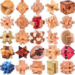 Klasik IQ Puzzle Kayu Pikiran Otak Permainan Asah Burr Teka-teki Mainan Permainan untuk Orang Dewasa Anak