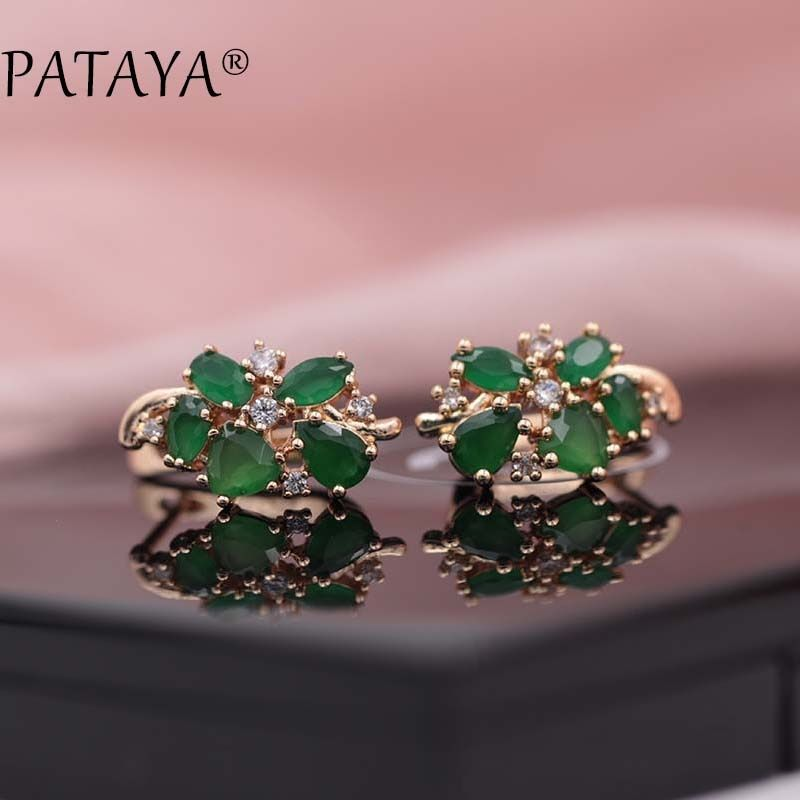 PATAYA Multi-Colored Green Natural Zirconia Earrings 585 Rose Gold RU Hot Exclusive Design Jewelry Women Water Grop Earrings
