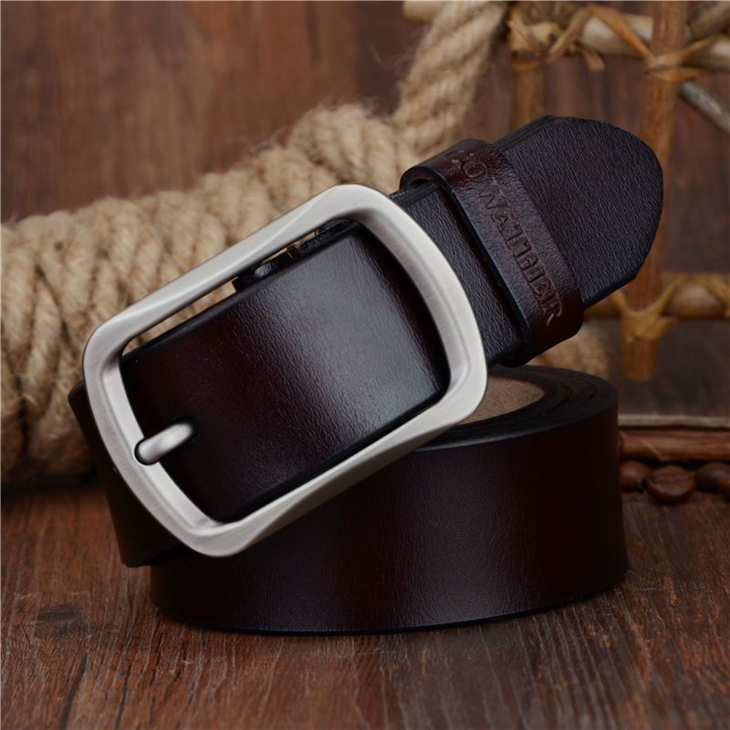 COWATHER fashion cow genuine leather 2017 new men fashion vintage style <font><b>male</b></font> belts for men pin buckle 100-150cm waist size 30-52
